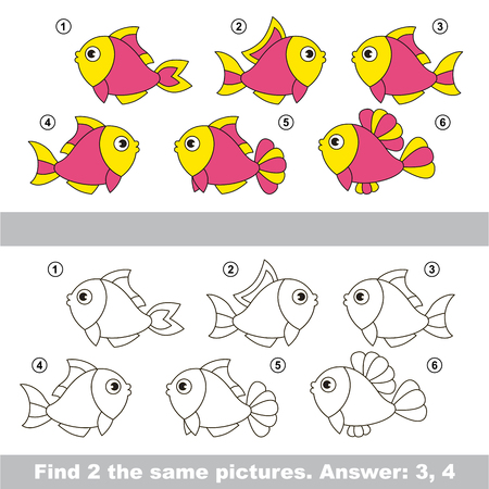 similar: The design difference. Vector visual game for children. Task and answer. Find two similar Pink Fishes.