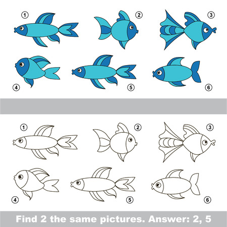 similar: The design difference. Vector visual game for children. Simple level of difficulty. Easy educational game. Task and answer. Find two similar Fishes. Illustration
