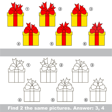 similar: The design difference. Vector visual game for children. The easy level. Task and answer. Find two similar Gifts