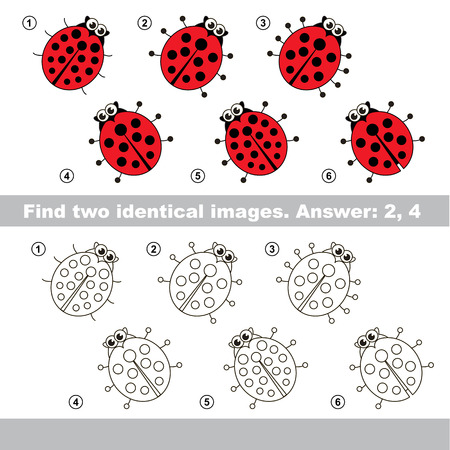 riddles: The design difference. Vector visual game for kid education. Simple level of difficulty. Easy educational game. Task and answer. Find two similar Ladybugs. Illustration