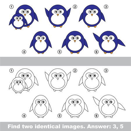 similar: The design difference. Vector visual game for kid education. Simple level of difficulty. Easy educational game. Task and answer. Find two similar Penguins. Illustration