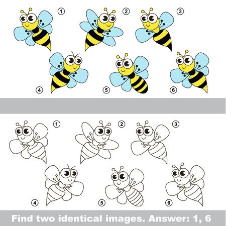 wasps: The design difference. Vector visual game for kid education. Simple level of difficulty. Easy educational game. Task and answer. Find two similar Wasps. Illustration