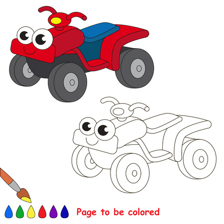 quad: Quad bike to be colored. Coloring book to educate kids. Learn colors. Visual educational game. Easy kid gaming and primary education. Simple level of difficulty. Coloring pages. Illustration