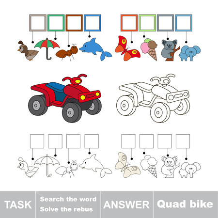 quad bike: Vector rebus game for children. Easy educational kid game. Simple game level. Find solution and write the hidden word Quad bike.