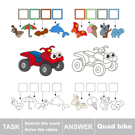 quad bike: Vector rebus game for children. Easy educational kid game. Simple game level. Find solution and write the hidden word Quad Bike