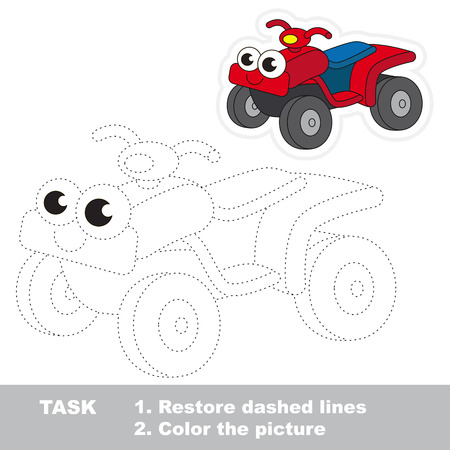 quad: Red Quad Bike in vector to be traced. Easy educational kid game. Simple level of difficulty. Restore dashed line and color the picture. Trace game for children. Illustration