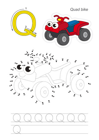 difficulty: Vector exercise illustrated alphabet. Gaming and education. Learn handwriting. Connect dots by numbers. Easy educational kid game. Simple level of difficulty. Tracing worksheet for letter Q. Red Quad Bike Illustration
