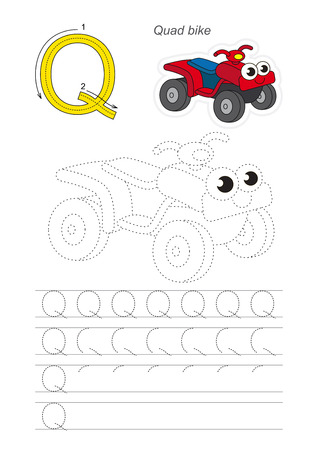 quad: Vector illustrated worksheet. Learn handwriting. Gaming and education. Page to be traced. Easy educational kid game. Simple level. Complete eng alphabet. Tracing worksheet for letter Q. The Quad bike. Illustration