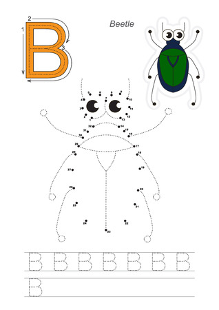 difficulty: Vector exercise illustrated alphabet. Gaming and education. Learn handwriting. Connect dots by numbers. Easy kid game. Simple level of difficulty. Tracing worksheet for letter B. The beetle. Illustration