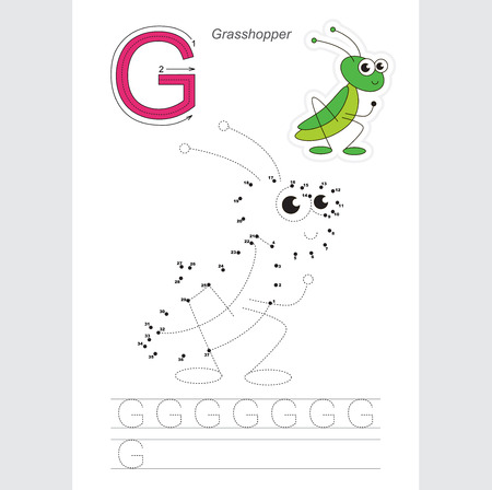 joining the dots: Vector exercise illustrated alphabet. Gaming and education. Learn handwriting. Connect dots by numbers. Kid game. Tracing worksheet for letter G. The grasshopper.