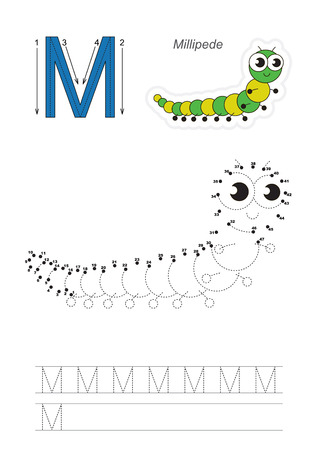 tracing: Vector exercise illustrated alphabet. Gaming and education. Learn handwriting. Connect dots by numbers. Easy educational kid game. Simple level of difficulty. Tracing worksheet for letter M.
