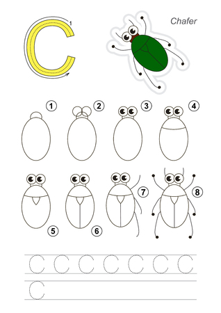 Complete vector illustrated alphabet with kid games. Learn handwriting. Easy educational kid game. Simple level of difficulty. Gaming and education. Drawing tutorial for letter C. The Bronze Bug. Illustration
