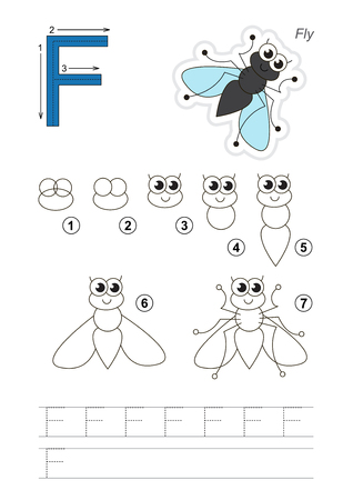 brainteaser: Complete vector illustrated alphabet with kid games. Learn handwriting. Easy educational kid game. Simple level of difficulty. Gaming and education. Drawing tutorial for letter F. The Funny Fly.