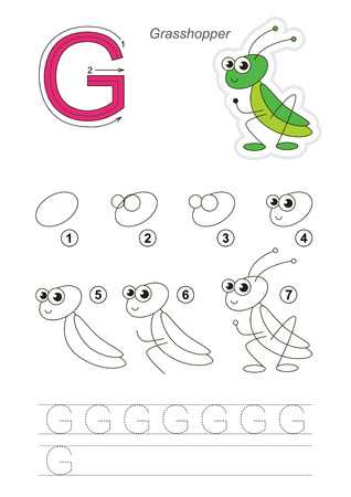 difficulty: Complete vector illustrated alphabet with kid games. Learn handwriting. Easy educational kid game. Simple level of difficulty. Gaming and education. Drawing tutorial for letter G. Cute grasshopper.