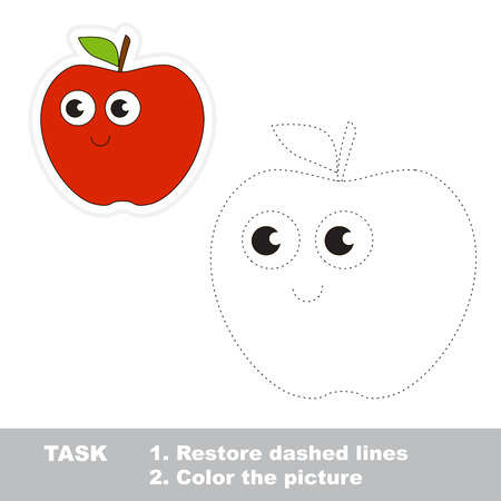 Red apple in vector to be traced. Easy educational kid game. Simple level of difficulty. Restore dashed line and color the picture. Trace game for children. Ilustração Vetorial
