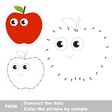 Red apple in vector to be traced by numbers. Easy educational kid game. Simple game level. Education and gaming for kids. Vector visual game for children.
