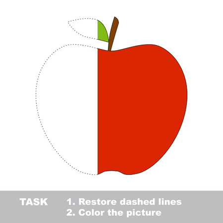 color page: Apple in vector to be traced. Restore dashed line and color the picture. Visual game for children. Easy educational kid gaming. Simple level of difficulty. Worksheet for kids education.