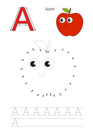 difficulty: Vector exercise illustrated alphabet. Gaming and education. Learn handwriting. Connect dots by numbers. Easy educational kid game. Simple level of difficulty. Tracing worksheet for letter A. Red Apple.