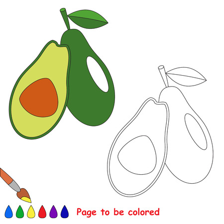 difficulty: Green avocado to be colored. Coloring book to educate kids. Learn colors. Visual educational game. Easy kid gaming and primary education. Simple level of difficulty. Coloring pages. Illustration
