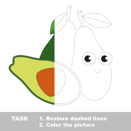 Ripe Avocado in vector to be traced. Restore dashed line and color the picture. Visual game for children. Easy educational kid gaming. Simple level of difficulty. Worksheet for kids education. Illustration