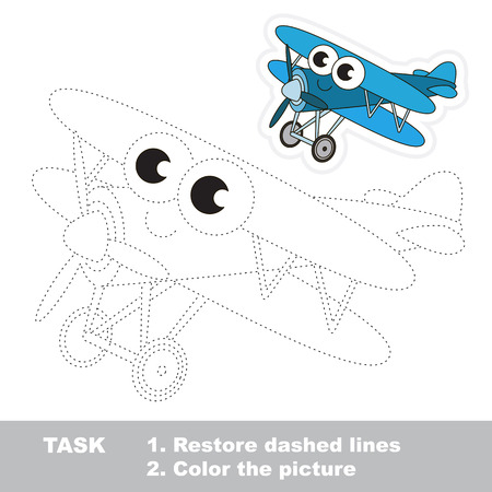 restore: Blue Biplane in vector to be traced. Easy educational kid game. Simple game level. Restore dashed line and color the picture. Trace game for children.