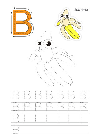 Vector illustrated worksheet. Learn handwriting. Gaming and education. Page to be traced. Easy educational kid game. Simple level. Complete eng alphabet. Tracing worksheet for letter B. The Yellow Banana.
