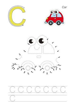 difficulty: Vector exercise illustrated alphabet. Gaming and education. Learn handwriting. Connect dots by numbers. Easy educational kid game. Simple level of difficulty. Tracing worksheet for letter C. The red car. Illustration