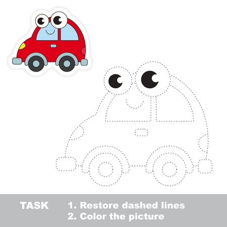 Red car in vector to be traced. Easy educational kid game. Simple level of difficulty. Restore dashed line and color the picture. Trace game for children. Illustration