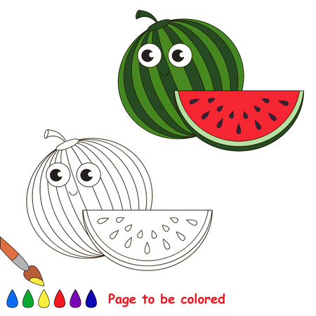 primary education: Funny watermelon to be colored. Coloring book to educate kids. Learn colors. Visual educational game. Easy kid gaming and primary education. Simple level of difficulty. Coloring pages.