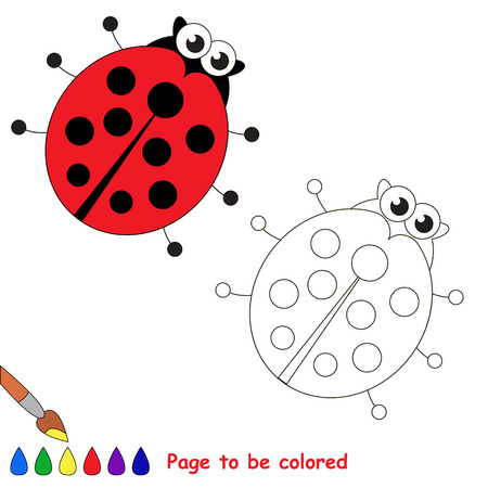 primary education: Ladybird to be colored. Coloring book to educate kids. Learn colors. Visual educational game. Easy kid gaming and primary education. Simple level of difficulty. Coloring pages.