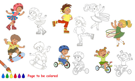 primary education: Kid summer sports to be colored. Coloring book to educate kids. Learn colors. Visual educational game. Easy kid gaming and primary education. Simple level of difficulty. Coloring pages.
