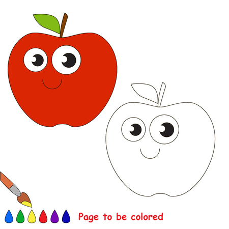 primary education: Apple to be colored. Coloring book to educate kids. Learn colors. Visual educational game. Easy kid gaming and primary education. Simple level of difficulty. Coloring pages.