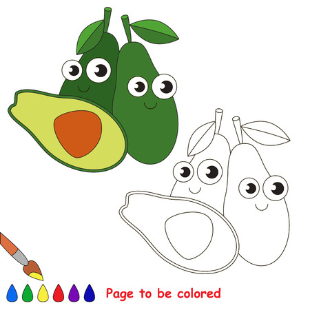 primary education: Avocado to be colored. Coloring book to educate kids. Learn colors. Visual educational game. Easy kid gaming and primary education. Simple level of difficulty. Coloring pages.