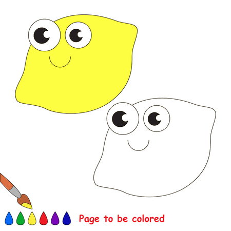 one level: One lemon to be colored. Coloring book to educate kids. Learn colors. Visual educational game. Easy kid gaming and primary education. Simple level of difficulty. Coloring pages. Illustration