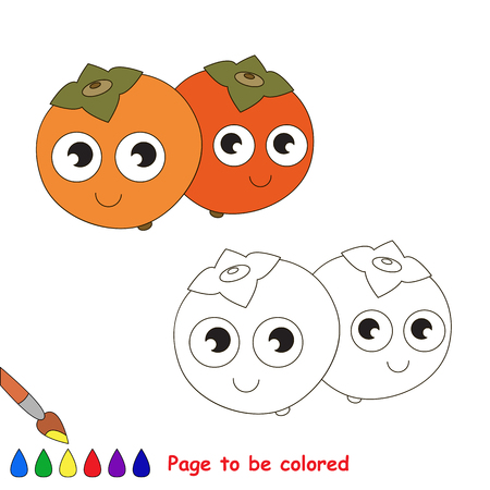 primary education: Persimmon to be colored. Coloring book to educate kids. Learn colors. Visual educational game. Easy kid gaming and primary education. Simple level of difficulty. Coloring pages.