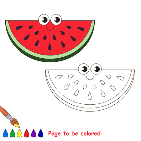 primary education: Watermelon slice to be colored. Coloring book to educate kids. Learn colors. Visual educational game. Easy kid gaming and primary education. Simple level of difficulty. Coloring pages.