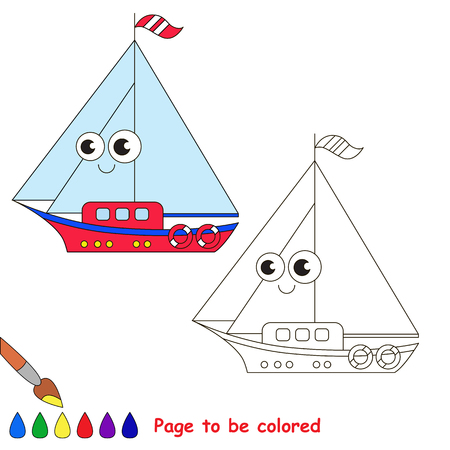 difficulty: Boat to be colored. Coloring book to educate kids. Learn colors. Visual educational game. Easy kid gaming and primary education. Simple level of difficulty. Coloring pages.