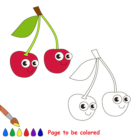 primary education: Red Cherry to be colored. Coloring book to educate kids. Learn colors. Visual educational game. Easy kid gaming and primary education. Simple level of difficulty. Coloring pages. Illustration