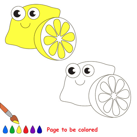 primary education: Funny Yellow Lemon to be colored. Coloring book to educate kids. Learn colors. Visual educational game. Easy kid gaming and primary education. Simple level of difficulty. Coloring pages.