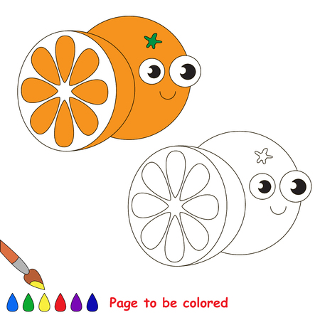 primary education: Funny Orange to be colored. Coloring book to educate kids. Learn colors. Visual educational game. Easy kid gaming and primary education. Simple level of difficulty. Coloring pages.