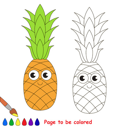 primary education: Sweet pineapple to be colored. Coloring book to educate kids. Learn colors. Visual educational game. Easy kid gaming and primary education. Simple level of difficulty. Page for coloring. Illustration