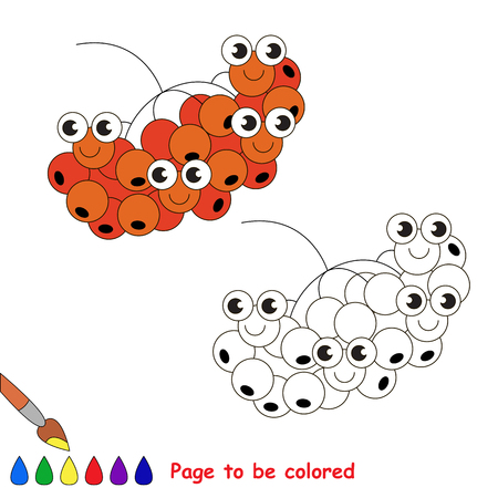 Funny Rowan to be colored. Coloring book to educate kids. Learn colors. Visual educational game. Easy kid gaming and primary education. Simple level of difficulty. Coloring pages. Illustration