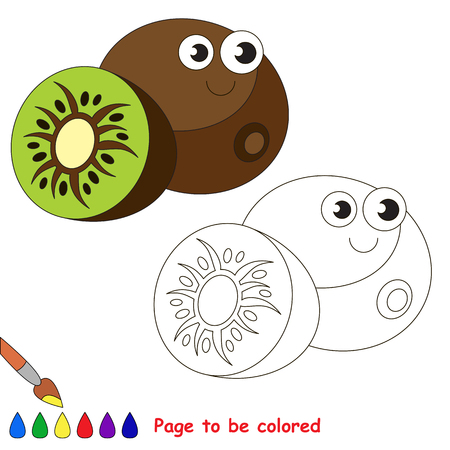 primary education: Funny kiwi to be colored. Coloring book to educate kids. Learn colors. Visual educational game. Easy kid gaming and primary education. Simple level of difficulty. Page for coloring.