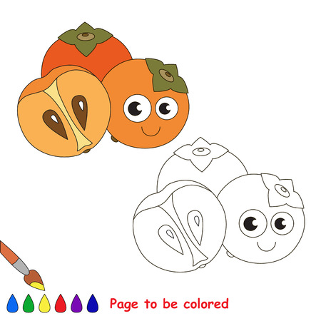 primary education: Sweet persimmon to be colored. Coloring book to educate kids. Learn colors. Visual educational game. Easy kid gaming and primary education. Simple level of difficulty. Page for coloring.