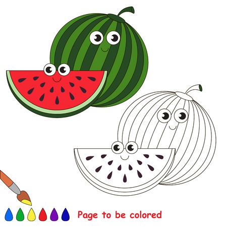 수 박 달콤한 수 박입니다. 아이들을 교육하는 색칠하기 책. 색상을 배웁니다. 비주얼 교육 게임. 쉬운 아이 게임 및 초등 교육. 간단한 수준의 어려움.  일러스트