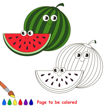 Sweet watermelon to be colored. Coloring book to educate kids. Learn colors. Visual educational game. Easy kid gaming and primary education. Simple level of difficulty. Coloring pages. Illustration