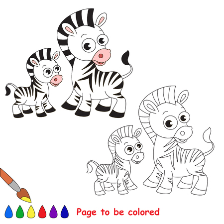 primary education: Zebra and her baby to be colored. Coloring book to educate kids. Learn colors. Visual educational game. Easy kid gaming and primary education. Simple level of difficulty. Coloring pages.