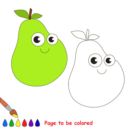 primary education: Funny pear to be colored. Coloring book to educate kids. Learn colors. Visual educational game. Easy kid gaming and primary education. Simple level of difficulty. Page for coloring.