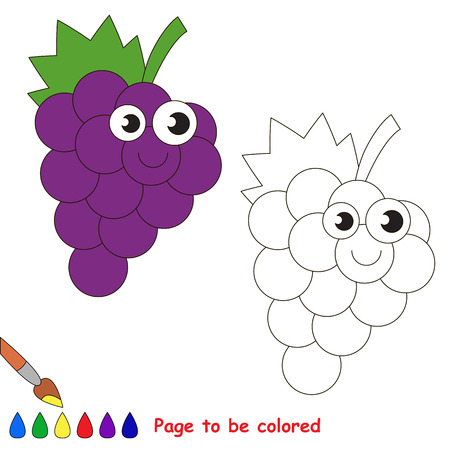 Funny grapes to be colored. Coloring book to educate kids. Learn colors. Visual educational game. Easy kid gaming and primary education. Simple level of difficulty. Page for coloring. Illustration