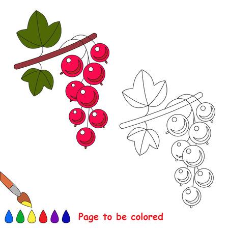 Rote Johannisbeere gefärbt werden. Malbuch für Kinder. Visuelle Lernspiel. Einfache Kinderspiele. Einfache Schwierigkeitsgrad.